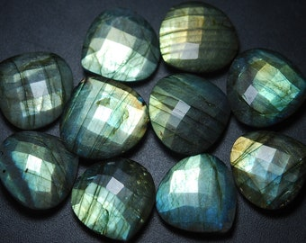 4 Piece, Labradorite Golden And Sky Blue Fire Undrilled Faceted Heart Shape, Size 22mm