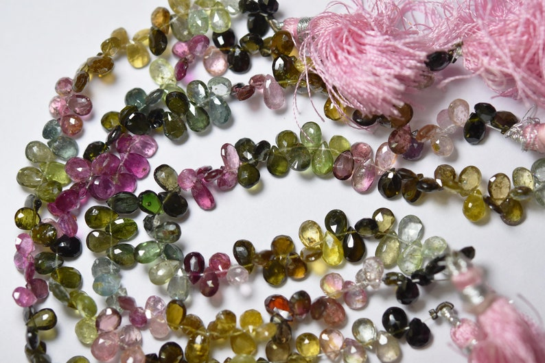 Tourmaline Faceted Pear Shape 8 Inches Strand Size 8x5mm To 7x5mm