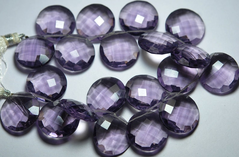 Purple Quartz Side Drilled Faceted Coin Size 20mm 10 Pieces
