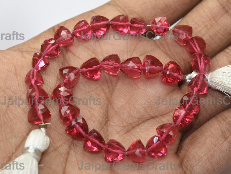 Rubelite Pink Quartz Center Full Drilled Faceted Trillion Size 8mm 8 Inches Strand