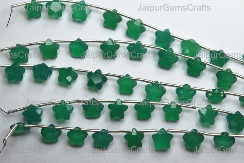 5 Match Pair Green Onyx Side Drilled Faceted Carved Star Cut Stone Size 8x8x5mm
