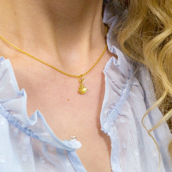 Dainty Ivy Leaf Charm Gold Necklace Simple Poison Ivy Minimalist Pretty Lily Pad Pearl Nature