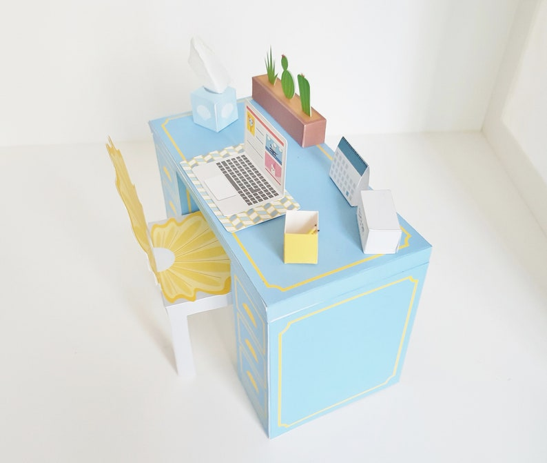 Strange Mini Desk And Chair Blue Paper Craft Toy Set Shell We Work Dollhouse Furniture 1 6 Scale Barbie Accessories Pdf Download 3D Download Free Architecture Designs Viewormadebymaigaardcom