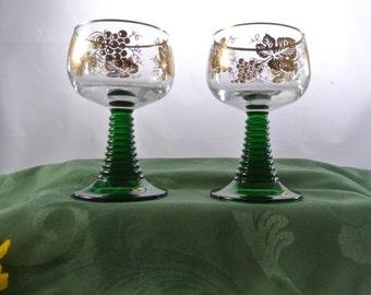 Decorative Arts Set Of 2 German Olive Green Roemer Grape Design Wine Goblets Vintage Gold Trim