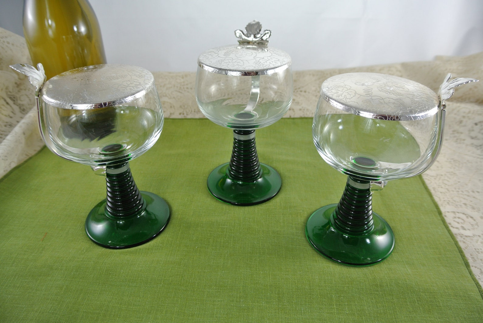 Vintage Rhein Roemer Wine Goblets with Green Stem and Chrome Lids
