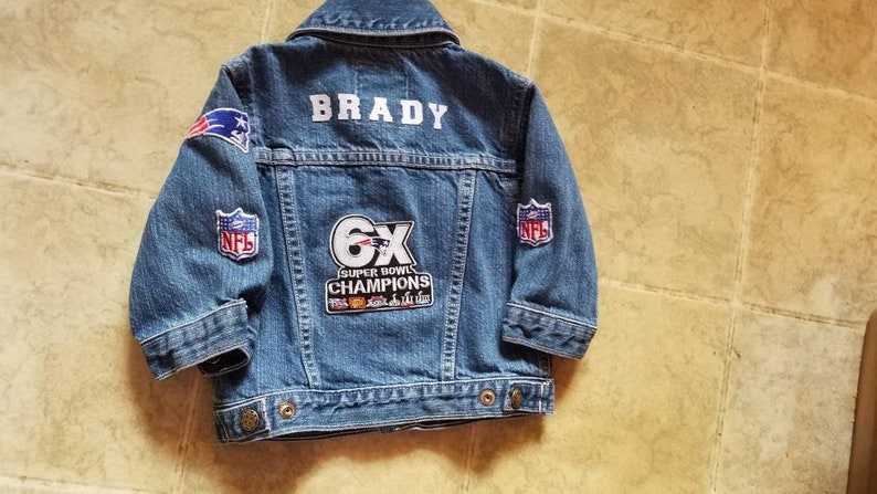 new style 2e77a c2073 Infant/Baby/youth/boy/girl/kids custom/home made new england patriots NFL  football denim/jean jacket 2 go w jersey/shirt/outfit all sizes