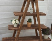 Vintage 4Tier ladder shelving storage display unit bookcase stand plant shelf