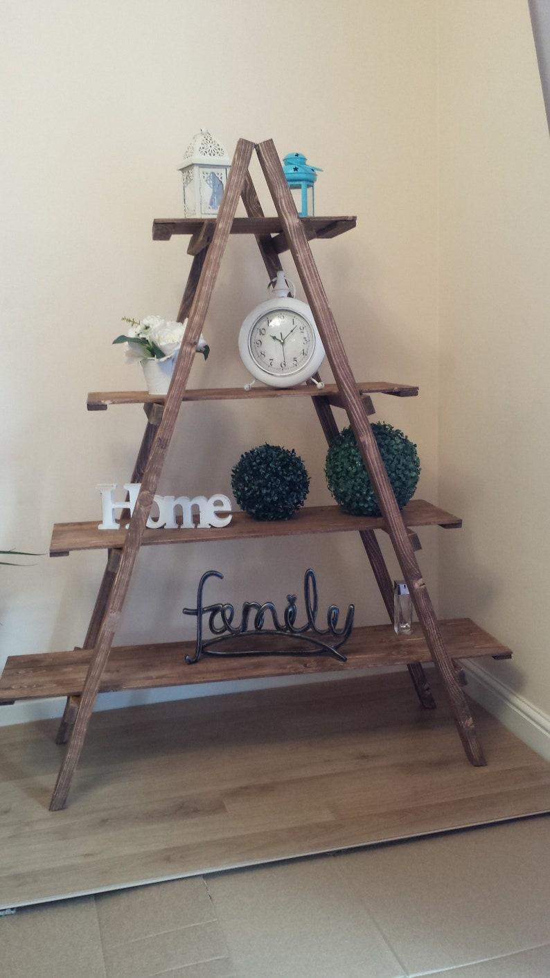 Wooden 3 /& 4 Tier Ladder Folding Book Shelf Stand Plant Flower Decro Display