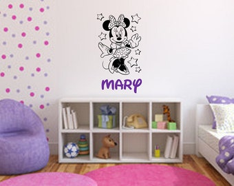 Disney Wall Decal / Custom Disney Decal / Minnie Mouse Decal / Minnie Mouse  Name Decal