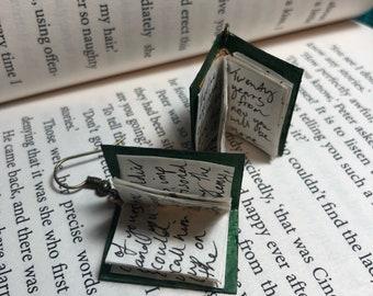 Fern green miniature book earrings