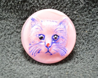 Pink Glass with Cat Button