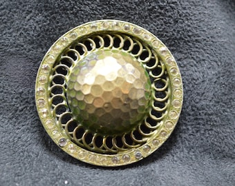 Hammered Domed Brass Button