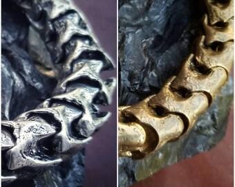 Snake Vertebrae BRACELET Brass / White Brass - Adjustable