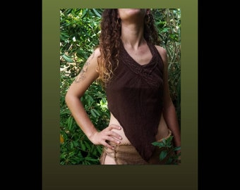 Cotton T-shirt/Sexy Top/Festival T-shirt/Open Back/Back Less/Hippy Clothing/Amazonas/Adjustable/Unique Size/Summer Top/Top Tank/Earth Color