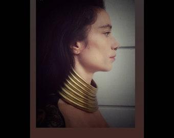 Ethnic Choker/Brass/Egypt Goddess/Big Necklace/Tribal/Elegance/Egyptian Jewels/Boho Jewelry