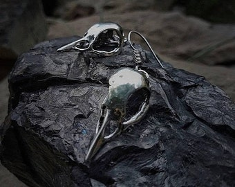 Crow Skull Earrings in Brass or White Brass Carrion Crow skull Corvus Carone raven corvid Curo skeleton bird corvid