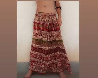 Rajasthan/Rajasthani Skirt/Long Skirt/Cotton/Summer Skirt/Gipsy/Ethnic/Boho/Indio Gujarat/Adjustable Belt/Indian Skirt