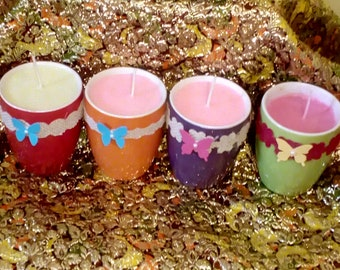 soy candles in pots