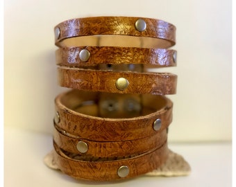Sliced leather cuff