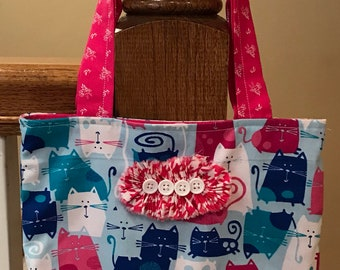Hot pink and blue cat print purse