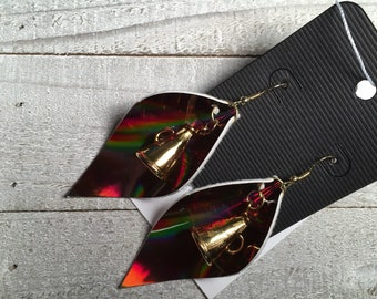 Brown Iridescent Leaf With Cheerleader Cone Earrings