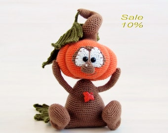 Crochet pumpkin Amigurumi toys Handmade doll Thanksgiving decor Funny pumpkin Stuffed toy Halloween art doll Thanksgiving gift Halloween toy
