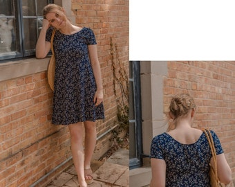 184fd8ccced5 Vintage Simple Ditsy Floral Midi Sundress    French Countryside Inspired