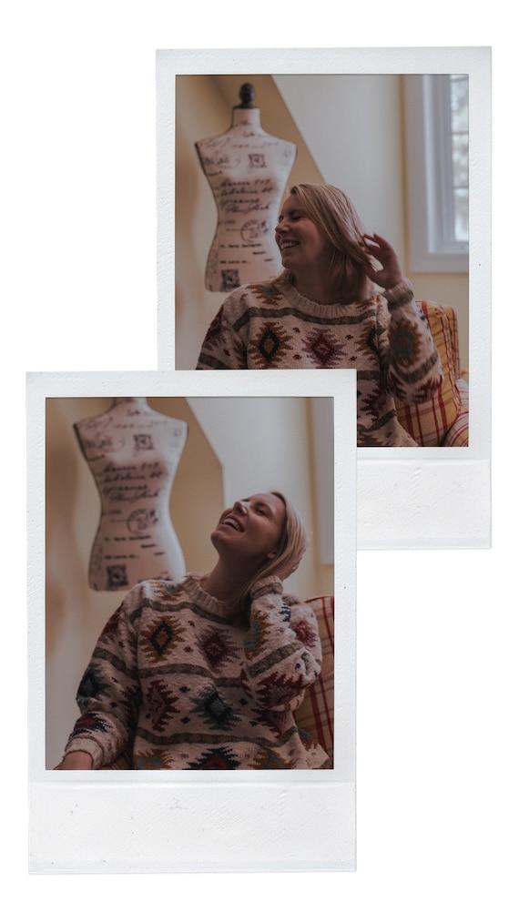 Vintage Ikat/Fair isle Design L.L. Bean Knit Sweat