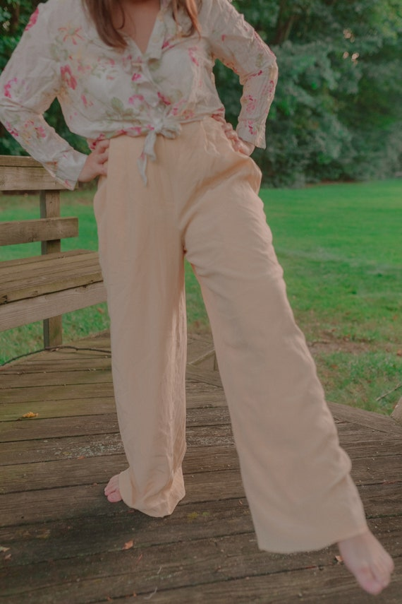 Vintage Silk High Waisted Wide Legged Trousers