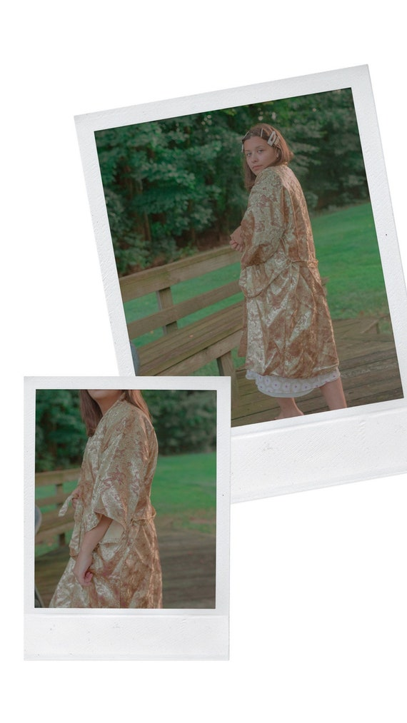 Vintage Silky Gold + Green Chinese Dragon Robe
