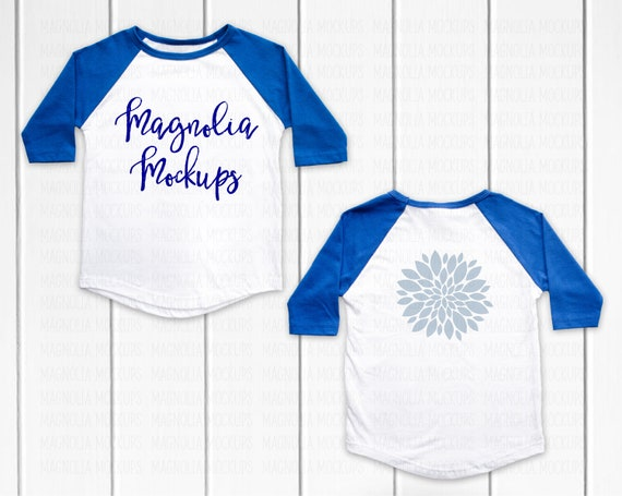Blue And White Baseball Raglan Shirt Front And Back Mockup Etsy
