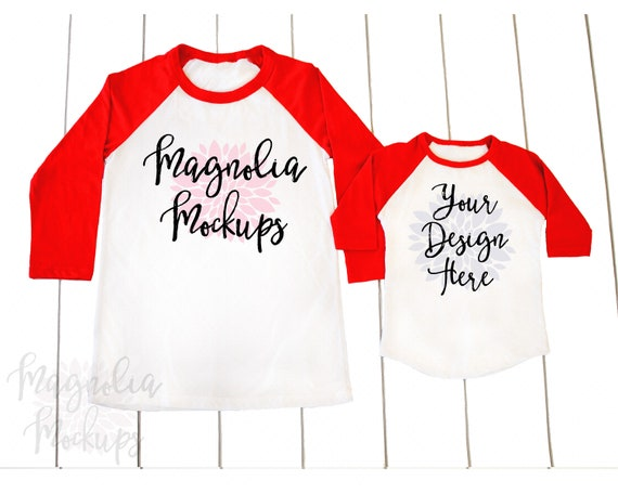 Red And White Adult And Toddler Raglan Mockup Mock Up Tshirt Etsy