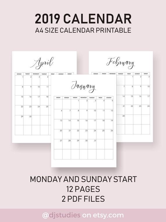 2019 calendar very aesthetic looking calendar simple