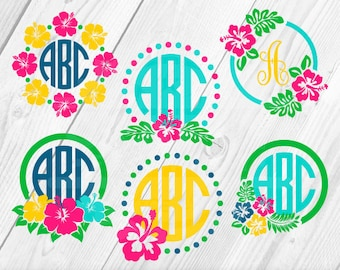 Hibiscus Flower, Floral SVG, Floral Clipart, Branch SVG, Floral Ornaments, Decorative Flowers,  Instant Download 13