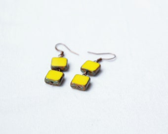 Yellow earring square, Long yellow earring, Glassed yellow earrings