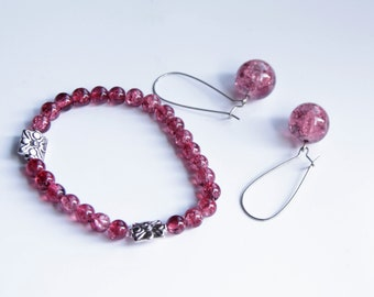 Set earrings and bracelet old pink, glas old pink beads earrigs, elegant set of jewelery, metal and glass beads jewelery