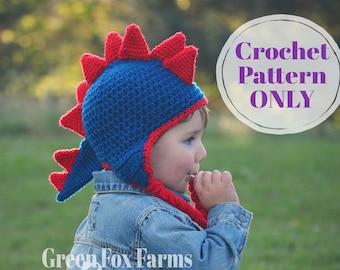 Crochet Patterns, Dinosaur Hat, Dragon Pattern, Jurassic, Crochet Hat Pattern, Dinosaur Crochet Pattern, Winter Hat, Digital Download