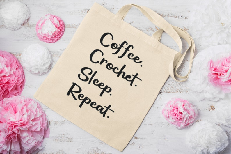 Coffee Lovers Crochet Project Bag Canvas Tote Bag Coffee Natural