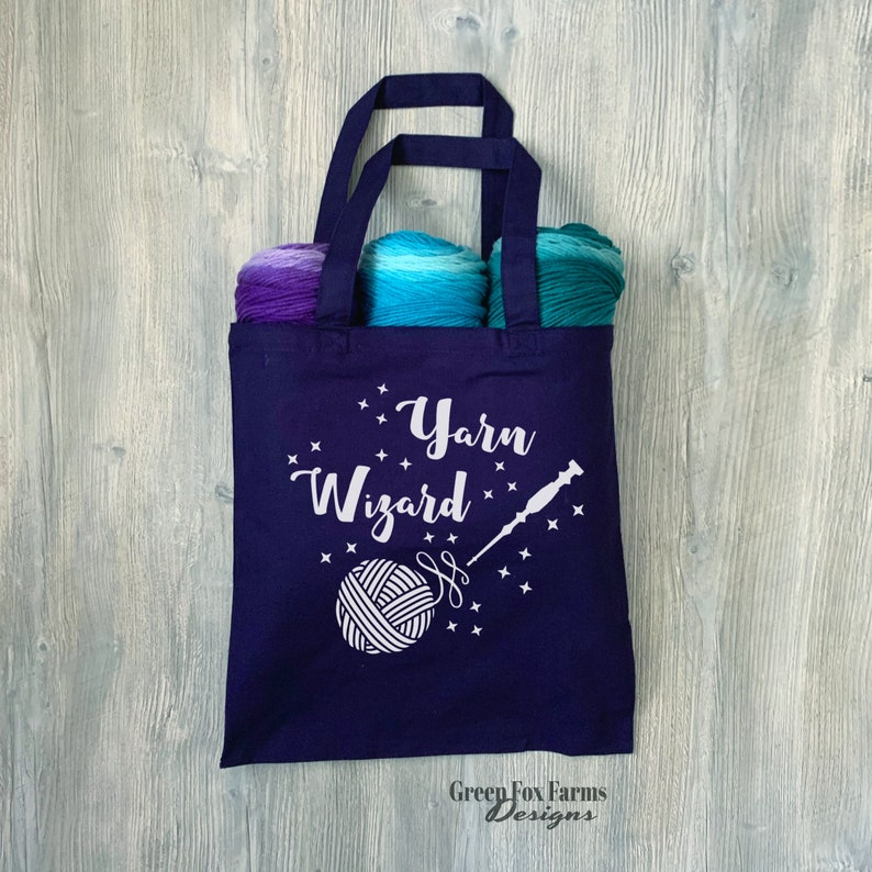 Yarn Wizard Tote Funny Project Bag Gift for Crocheter Navy