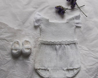 Baby white cotton Romper Set