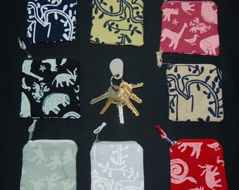 African Print Zippered Coin Purses