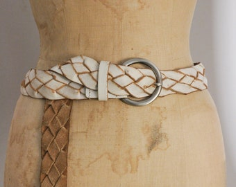 f20b63bddbeee Vintage braided leather belt woven boho gypsy accessories