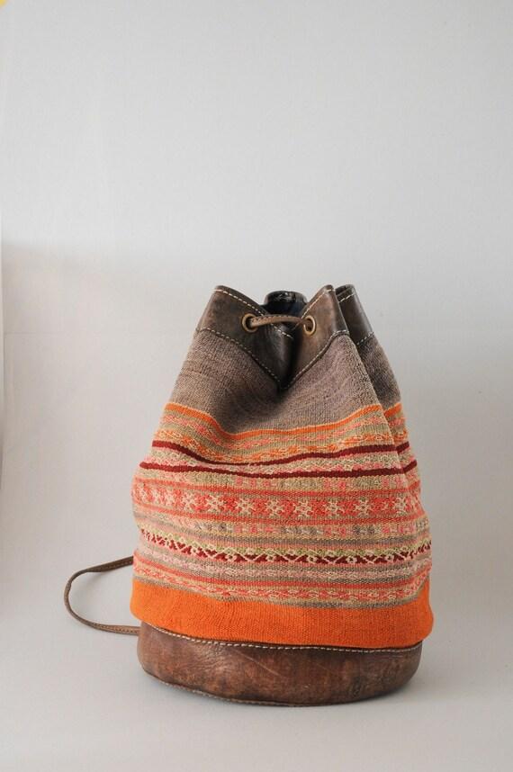 Canvas & leather bucket bagpack