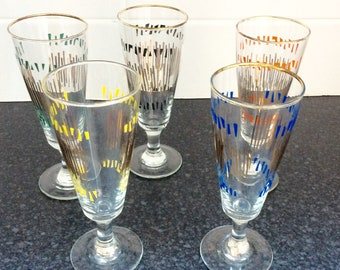 Vintage wine glasses, retro drinking glasses, 1970's wine glasses