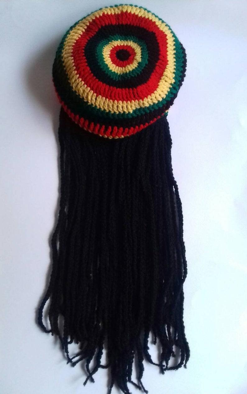 ba3b7d0392e Unisex dreadlock beanie Rasta hat Jamaica hair style Hat with