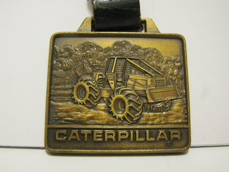 Caterpillar CAT 518 528 Cable Log Skidder Brass Pocket Watch Fob with  Leather Strap Grapple Logging Forestry Timber
