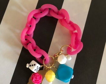 Girls Just Wanna Have Fun Neon Pink Jelly Chain Charm Bracelet