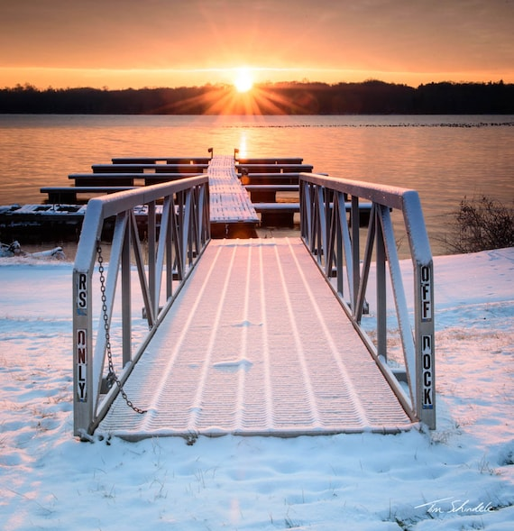 Lighting the Dock at Lake Nockamixon * Sunrise * Winter * Lake Photograph *  Photo * Picture * Bucks County Pennsylvania * Snow * Landscape