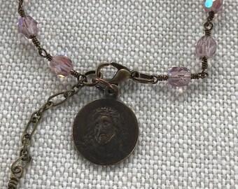 Passion of Christ Catholic Beaded Bracelet/Women's/Vintage Replica/Czech Glass Beads