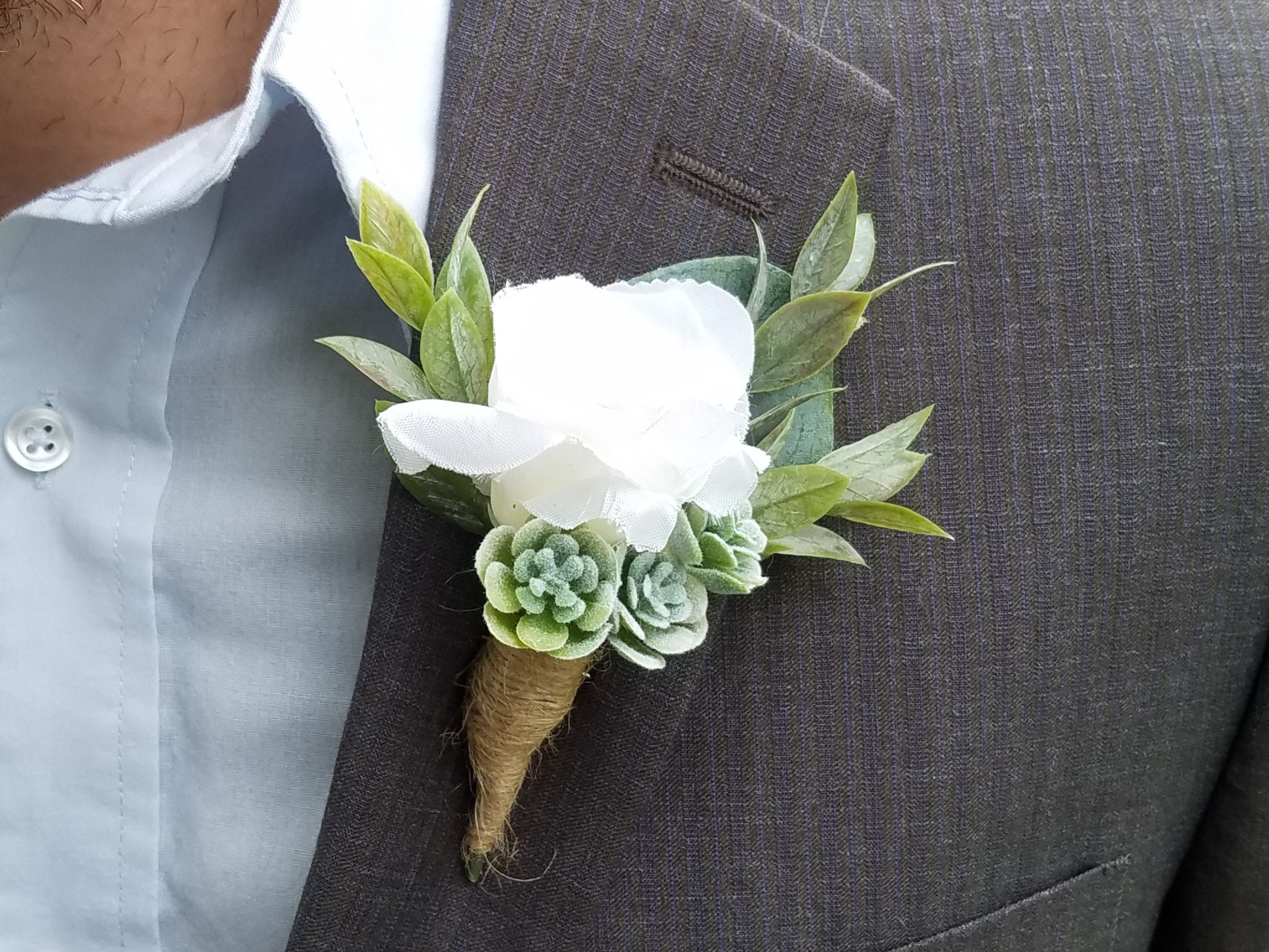 White Rose Succulent Boutonniere Wedding Boutonniere